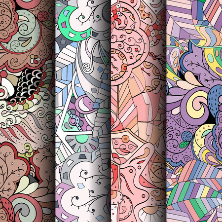 ethno: Set of tracery colorful seamless patterns. Curved doodling backgrounds for textile or printing with mehndi and ethnic motives. Vector Illustration