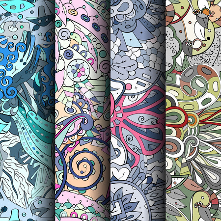 fantasy: Set of tracery colorful seamless patterns. Curved doodling patterns for textile or printing with mehndi and ethnic motives. Vector