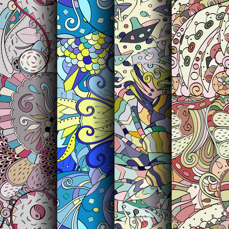 Set of tracery colorful seamless patterns. Ilustração