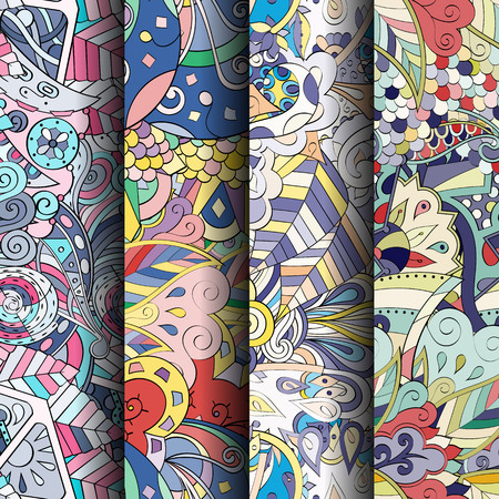 fantasy: Set of tracery colorful seamless patterns. Curved doodling backgrounds for textile or printing with mehndi and ethnic motives. Vector Illustration