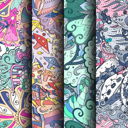 feminity: Set of tracery colorful seamless patterns. Curved doodling backgrounds for textile or printing with mehndi and ethnic motives. Vector Illustration