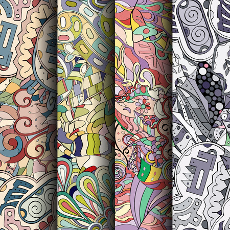 Set of tracery colorful seamless patterns. Curved doodling backgrounds for textile or printing with mehndi and ethnic motives.
