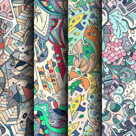 scratches: Set of tracery colorful seamless patterns. Curved doodling backgrounds Illustration