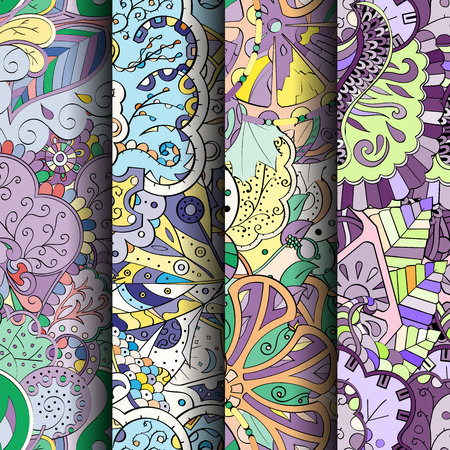 fairy: Set of tracery colorful seamless patterns. Curved doodling backgrounds Illustration