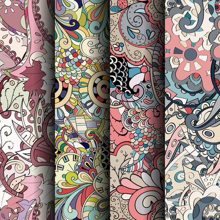 Set of tracery colorful seamless patterns. Curved doodling backgrounds for textile or printing with mehndi and ethnic motives. Vector Иллюстрация