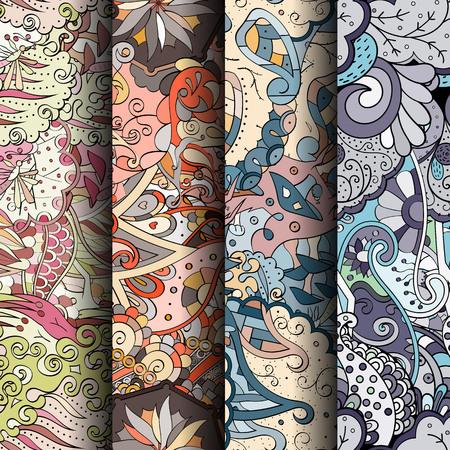 Conjunto de tracería coloridos patrones sin fisuras. Fondos doodling curvados para textiles o estampados con mehndi y motivos étnicos. Vector