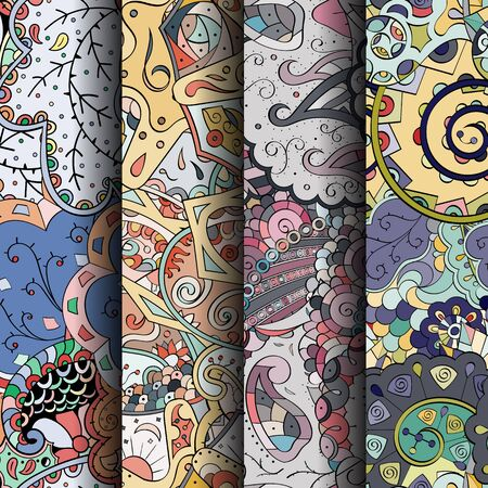 Set of tracery colorful seamless patterns. Illustration