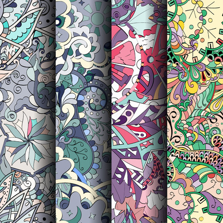 scratches: Set of tracery colorful seamless patterns. Illustration