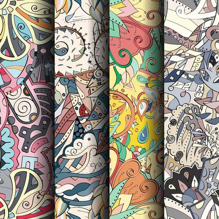 figura: Jogo de testes padrões sem emenda coloridos do tracery. Curvado doodling fundos para têxteis ou impressão com mehndi e motivos étnicos. Vetor Ilustração