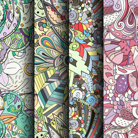 speckle: Set of tracery colorful seamless patterns. Curved doodling backgrounds for textile or printing with mehndi and ethnic motives. Vector Illustration