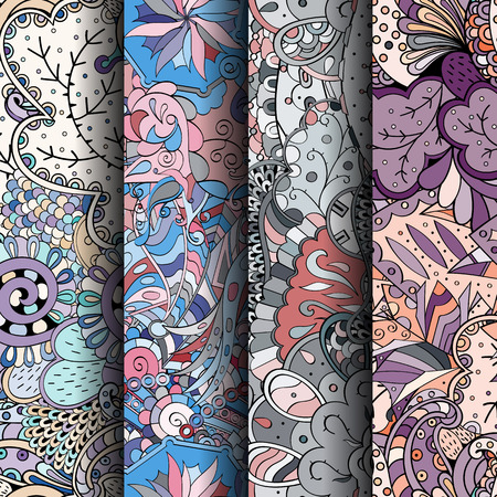 scratches: Set of tracery colorful seamless patterns. Curved doodling backgrounds for textile or printing with mehndi and ethnic motives. Vector Illustration