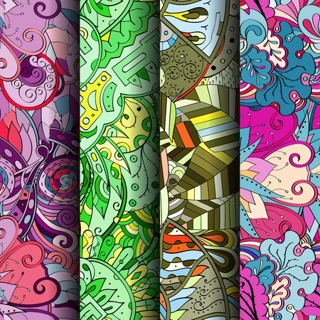 scratches: Set of tracery colorful seamless patterns. Curved doodling backgrounds for textile or printing with mehndi and ethnic motives.