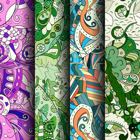 original single: Set of tracery colorful seamless patterns. Curved doodling patterns for textile or printing with mehndi and ethnic motives. Vector