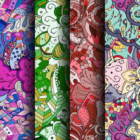 mongoloid: Set of tracery colorful seamless patterns. Curved doodling backgrounds for textile or printing with mehndi and ethnic motives. Vector Illustration