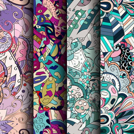 figura: Set of tracery colorful seamless patterns. Curved doodling backgrounds for textile or printing with mehndi and ethnic motives. Vector Ilustração