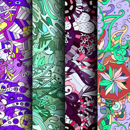 original single: Set of tracery colorful seamless patterns. Curved doodling backgrounds for textile or printing with mehndi and ethnic motives. Vector Illustration