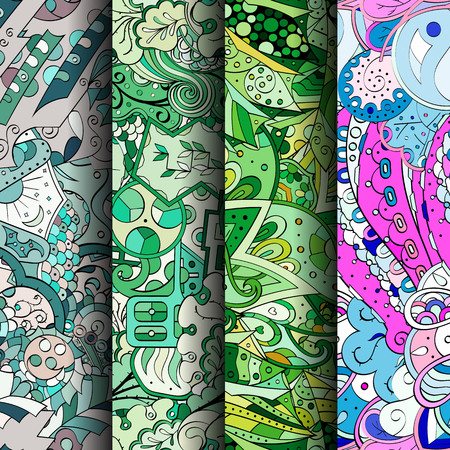 festival scales: Set of tracery colorful seamless patterns. Curved doodling backgrounds for textile or printing with mehndi and ethnic motives. Vector Illustration
