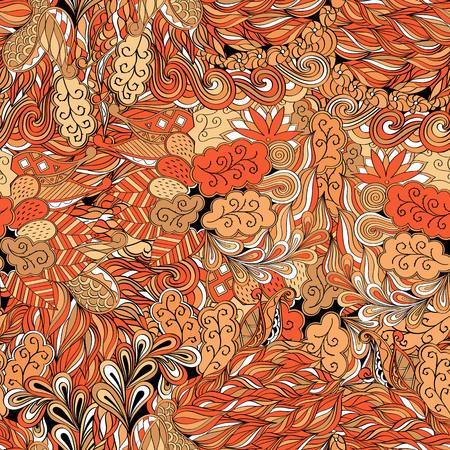 Tracery seamless calming pattern. Mehendi design. Neat even colorful harmonious doodle texture. Algae sea motif.