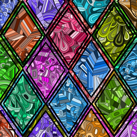 Tracery loops, doodle wind pattern in the style of stained glass. Mehendi paisley, stem, spiral, wave, bud mehndi design. Handmade doodling design. For site background, printing. Vector. 向量圖像