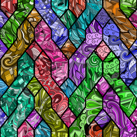 Tracery loops, doodle wind pattern in the style of stained glass. Mehendi paisley, stem, spiral, wave, bud mehndi design. Handmade doodling design. For site background, printing. Vector. Illustration