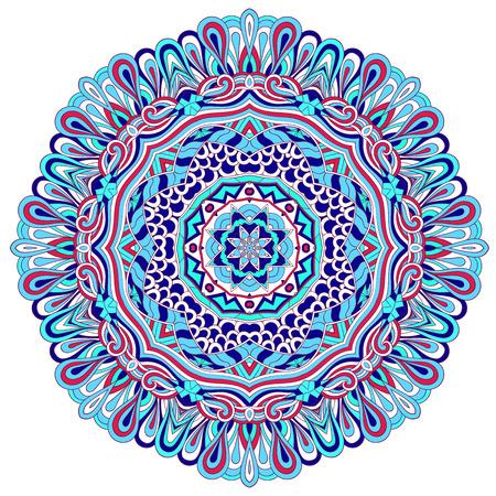 Mehndi mandala tracery wheel design. Handmade natural mood texture. Paisley, winding stem, bud mehndi doodle. Curved lines, doodling design. Good for plates, dish, tableware. Illustration