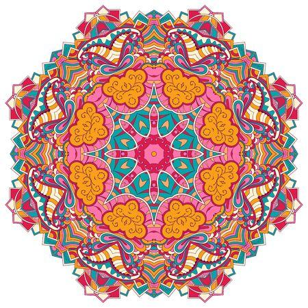 unpredictable: Mehndi mandala tracery wheel design. Handmade natural mood texture. Paisley, winding stem, bud mehndi doodle. Curved lines, doodling design. Good for plates, dish, tableware. Illustration