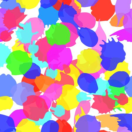 Seamless ink kids pattern spots. Colorful vector ink seamless backdrop with blots. For kids meetings, events, holidays, birthdays, childrens goods, festive, as background. Paint ink stains.
