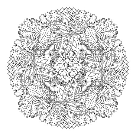 Mehndi mandala tracery wheel design. Handmade natural mood texture. Paisley, winding stem, bud mehendi doodle. Curved lines, doodling design. Good for plates, dish, tableware. Vector. Illustration