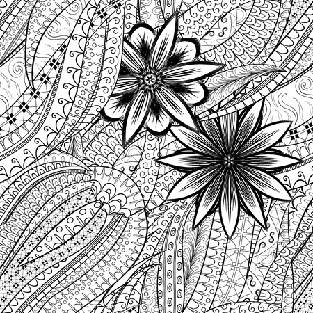 Tracery seamless calming pattern. Mehendi design. Neat even binary harmonious doodle texture. Algae sea motif. Illustration