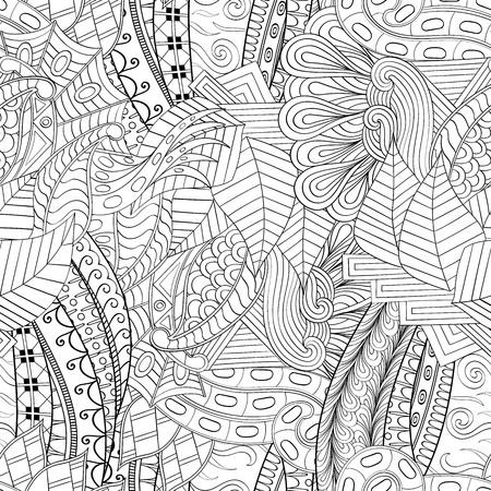 unpredictable: Tracery seamless calming pattern. Mehendi design. Neat even binary harmonious doodle texture. Algae sea motif. Illustration