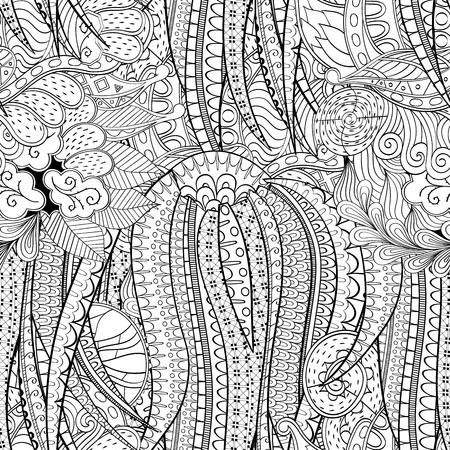 Tracery seamless calming pattern. Mehendi design. Vector.
