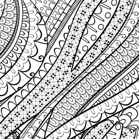 Tracery calming pattern. Mehendi design. Neat even binary harmonious doodle texture. Silt algae, sea motif, tentacles. Ambitious, bracing, usable curved doodling mehndi. Vector. Vetores