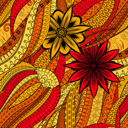 Tracery seamless calming orange pattern. Mehendi design. Neat even harmonious doodle texture. Illustration