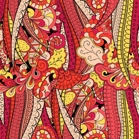 Tracery seamless calming pattern. Mehendi design. Neat even red harmonious doodle texture. Algae sea motif. Illustration