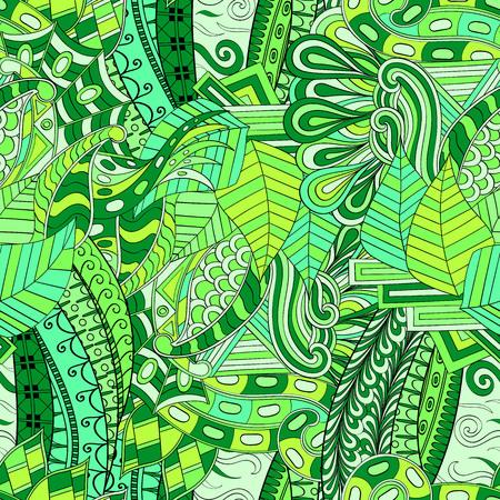 Tracery seamless calming pattern. Mehendi design. Neat even green harmonious doodle texture. Algae sea motif. Illustration