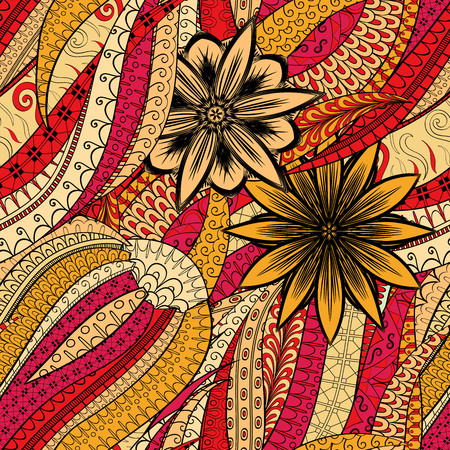 Tracery seamless calming pattern. Mehendi design. Neat even orange red harmonious doodle texture. Algae sea motif. Indifferent discreet. Ambitious bracing usable, curved doodling mehndi. Vector.