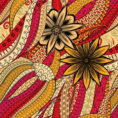 extravagant: Tracery seamless calming pattern. Mehendi design. Neat even orange red harmonious doodle texture. Algae sea motif. Indifferent discreet. Ambitious bracing usable, curved doodling mehndi. Vector.