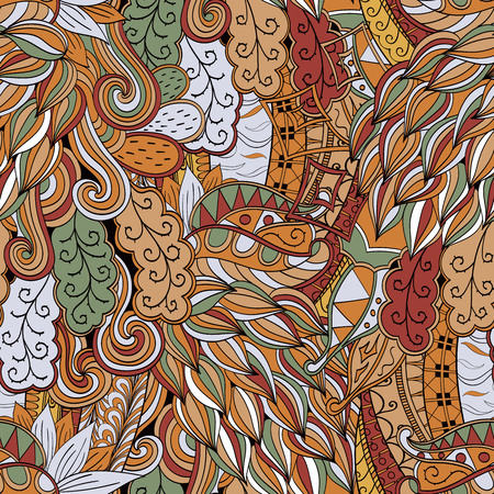 Tracery seamless calming pattern. Mehendi design. Neat even colorful harmonious doodle texture. Algae sea motif.