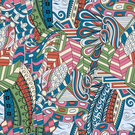 extravagant: Tracery seamless calming pattern. Mehendi design. Neat even colorful harmonious doodle texture. Algae sea motif.