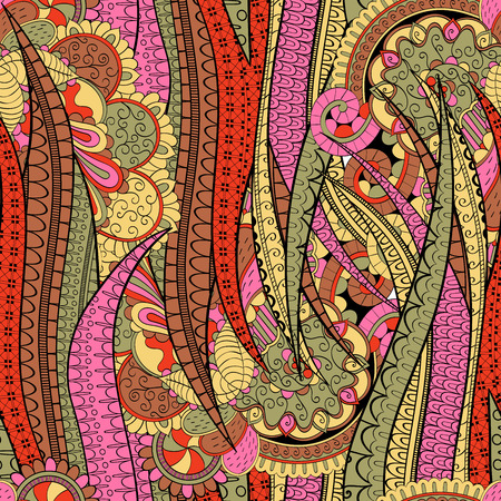 Tracery seamless calming pattern. Mehendi design. Neat even brown-red rose harmonious doodle texture. Algae sea motif. Indifferent discreet. Ambitious bracing usable, curved doodling mehndi. Vector.