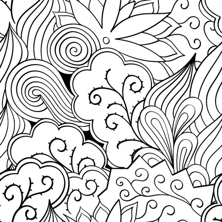 Tracery seamless calming pattern. Mehendi design. Neat even binary harmonious doodle texture. Algae sea motif. Indifferent ethnical. Ambitious bracing usable, curved doodling mehndi. Vector.