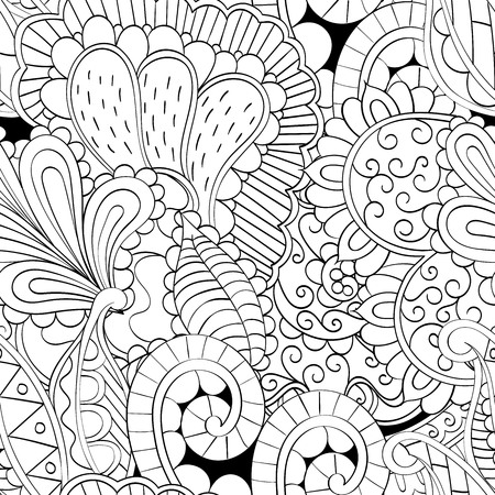 Tracery seamless calming pattern. Mehendi design. Neat even binary harmonious doodle texture. Algae sea motif. 向量圖像