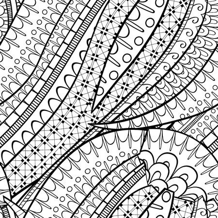 Tracery seamless calming pattern. Mehendi design. Neat even binary harmonious doodle texture. Algae sea motif. Illustration