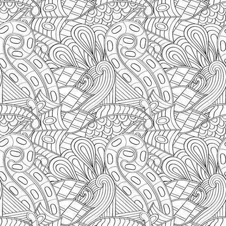 Tracery seamless pattern calming. Mehndi design. Neat binary harmonious even doodle texture. Algae is motif. Illustration