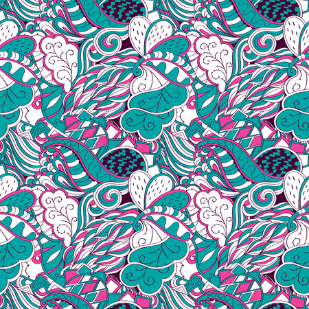 unpredictable: Tracery seamless pattern calming. Mehndi design. Neat colorful harmonious even doodle texture. Algae is motif. Ethnically indifferent. Ambiguous usable bracing, curved doodling mehendi. Vector.