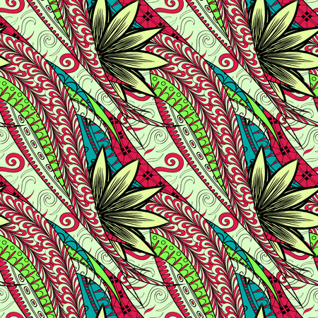 unpredictable: Tracery seamless calming pattern. Mehendi design. Neat even colorful harmonious doodle texture. Algae sea motif. Indifferent discreet. Ambitious bracing usable, curved doodling mehndi. Vector.