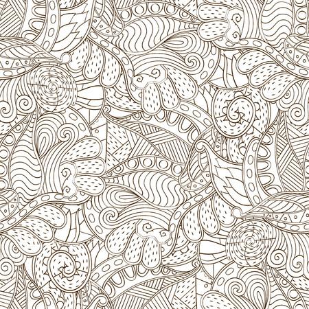 Tracery seamless calming pattern. Mehendi design. Neat even binary harmonious doodle texture. Algae sea motif. Indifferent ethnical. Ambitious bracing usable, curved doodling mehndi. Vector. Ilustração Vetorial