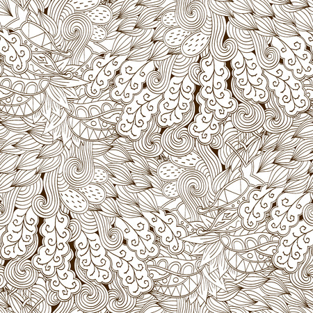 magnificence: Tracery seamless calming pattern. Mehendi design. Neat even binary harmonious doodle texture. Algae sea motif. Indifferent ethnical. Ambitious bracing usable, curved doodling mehndi. Vector.