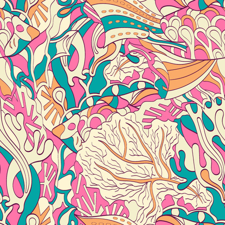 festival scales: Tracery seamless calming pattern. Mehendi design. Neat even colorful rose harmonious doodle texture. Algae sea motif. Indifferent discreet. Ambitious bracing usable, curved doodling mehndi. Vector. Illustration