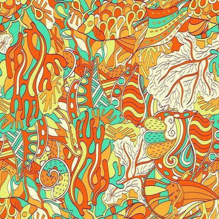 bracing: Tracery seamless calming orange pattern. Mehendi design. Neat even harmonious doodle texture. Ambitious bracing usable handmade, discreet curved doodling mehndi. Indifferent faded motif. Vector.